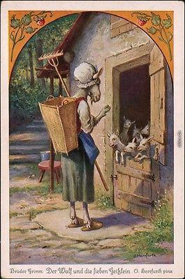 Gbr Grimm: Der Wolf die sieben Geißlein Künstlerkarte Herrfurth Gbr Grimm 1916
