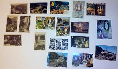 18 Lourdes Karten Sammlung mit einer Stereoskopiekarte 3d