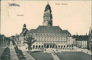 Ansichtskarte Innere Altstadt-Dresden Neues Rathaus, Ringstraße 1911