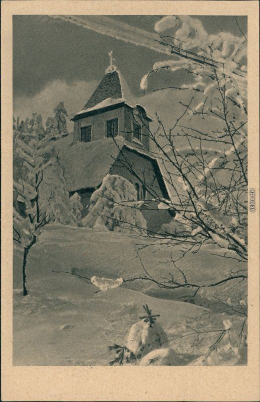 Ansichtskarte Oberbärenburg-Altenberg (Erzgebirge) Kirche im Winter 1928