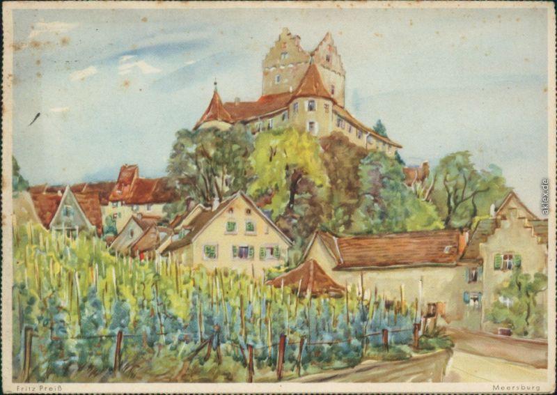 Meersburg Altes Schloß / Burg Meersburg - Gemälde von Fritz Preiß 1941