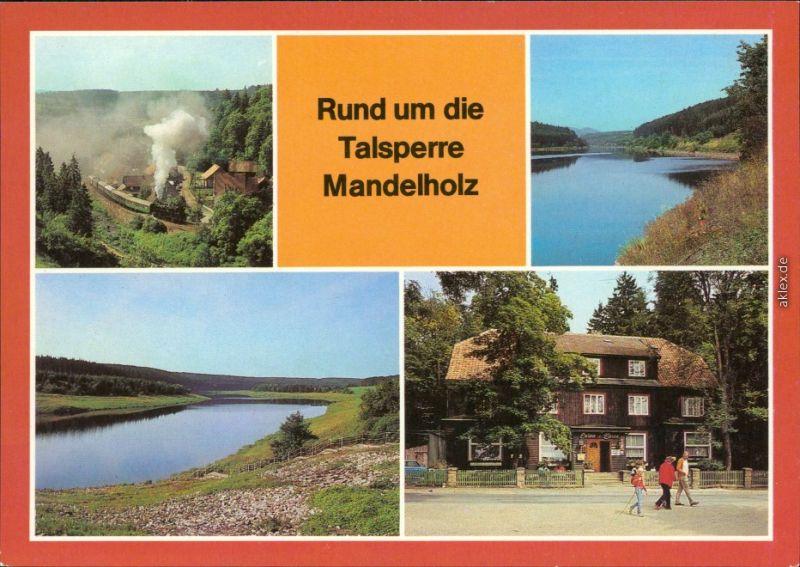 Königshütte (Harz) Mandelholztalsperre (Hochwasserrückhaltebecken) - Rübelandbahn, Stausee, Gaststätte Grüne Tanne in Mandelholz 1988