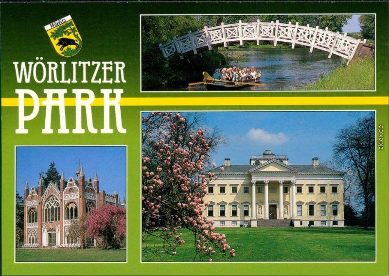 Wörlitz-Oranienbaum-Wörlitz Landschaftspark Wörlitz - weiße Brücke, Gotisches Haus, Schloss 1997