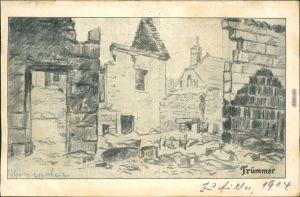 Militär/Propaganda 1.WK (Erster Weltkrieg) - Trümmer - Zeichnung 1914