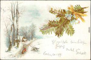 Ansichtskarte  Glückwunsch - Neujahr/Sylvester - Schlittenfahrt 1899