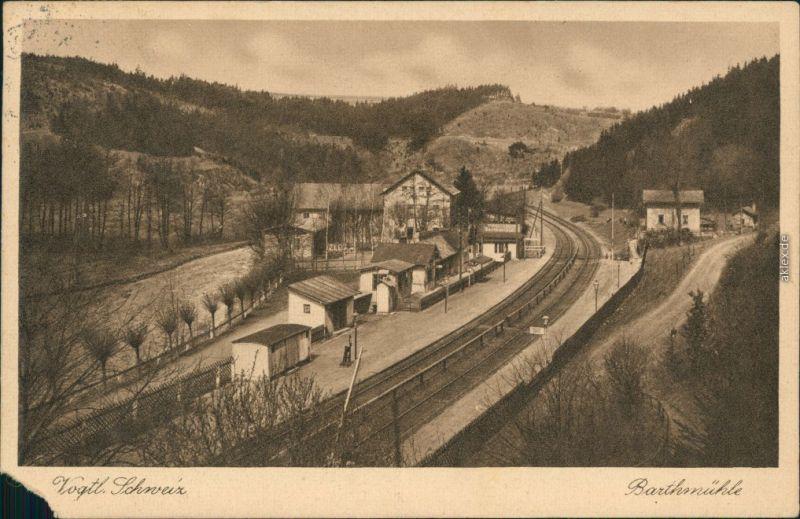 Ansichtskarte Barthmühle-Pöhl Bahnhof Barthmühle 1928
