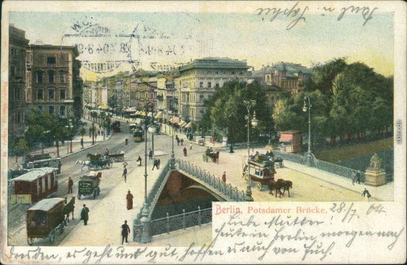 Ansichtskarte Tiergarten-Berlin Potsdamer Brücke Straßenpartie 1904