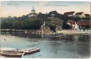 Halle (Saale) Saalepartie mit der Bergschenke 1902