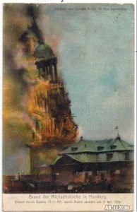 Hamburg Brand der Michaeliskirche 3. Juli 1906 gel.1906