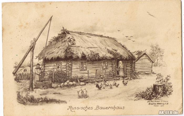 Russland (allgemein) Russisches Bauernhaus - Zeichnung W