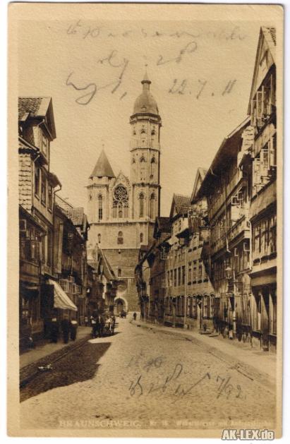 Braunschweig Weberstrasse mit Andreas Kirche gel. 1911