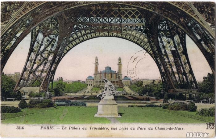 Paris La Palais du Trocadero, Vue prise du Parc du Champ