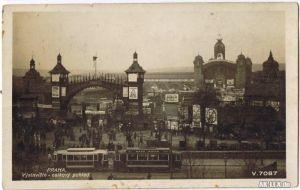 Prag Panorama mit Straßenbahn - Foto AK ca. 1930