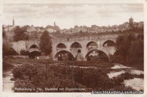 Rothenburg ob der Tauber Stadtbild mit Doppelbrücke /