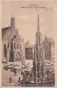Ansichtskarte Nürnberg Schöner Brunnen und Frauenkirche