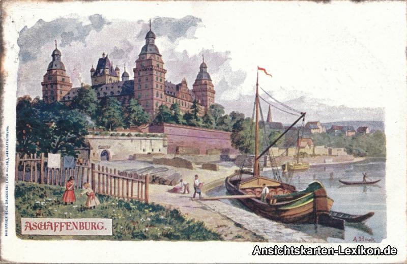 Künstler Aschaffenburg aschaffenburg künstler litho ak a hock signiert nr 6285