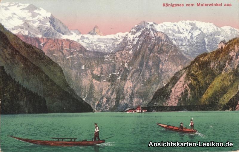 Ansichtskarte Schönau am Königssee vom Malerwinkel aus 1914 zwei Boote