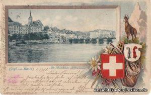 Basel Heraldik Präge AK - Alte Rheinbrücke mit Großbasel