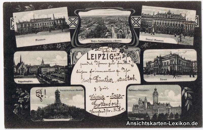 Leipzig Mehrbild AK ua Börse und Augustusplatz