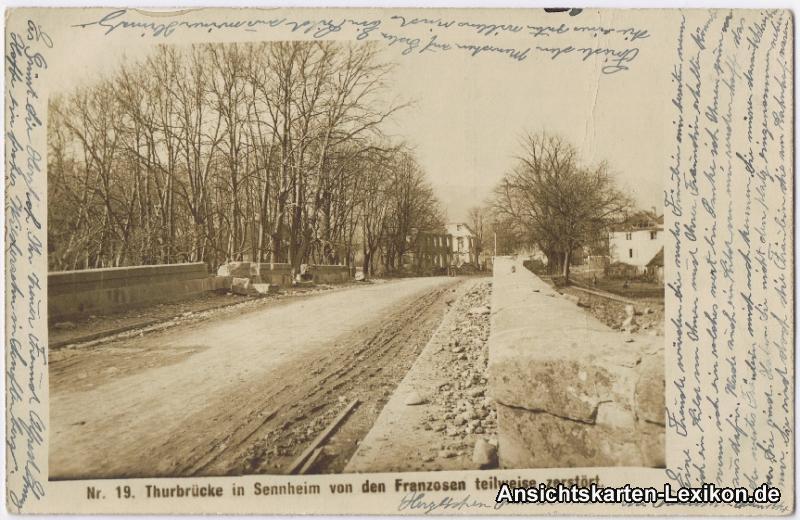 Sennheim Thuebrücke von den Franzosen teilweise zerstört