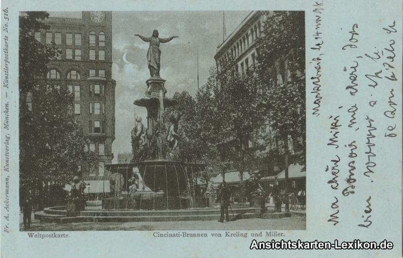 Cincinnati (Ohio) Cincinati Brunnen - Mondscheinlitho