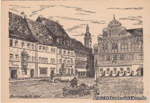 Weimar Marktplatz - Künstler AK