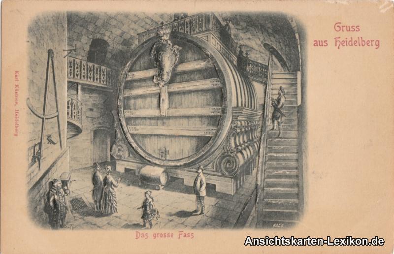 Heidelberg Das große Fass - Relief-Ansichtskarte