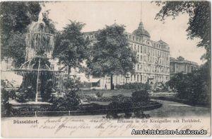 Ansichtskarte Düsseldorf Brunnen in der Königsallee mit Parkhotel 1904