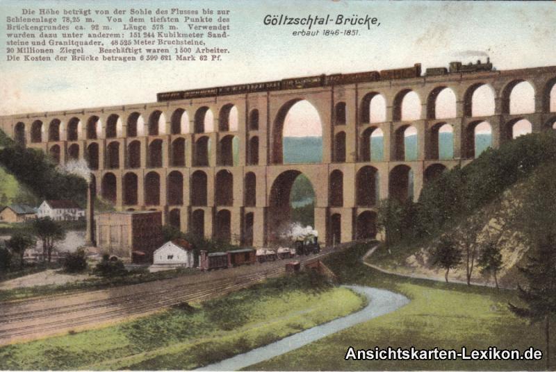 Mylau Göltzschtal-Brücke mit Fabrik und Eisenbahnen