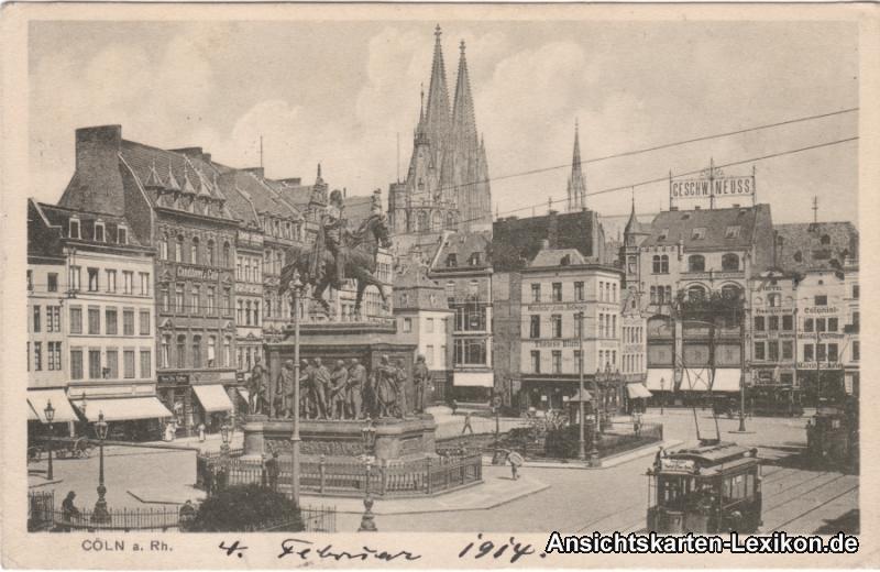 Köln Heumarkt - Geschäfte, Cafe´s und Straßenbahn