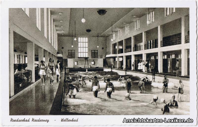 Ansichtskarte Norderney Wellenbad - innen b Norden Dornu