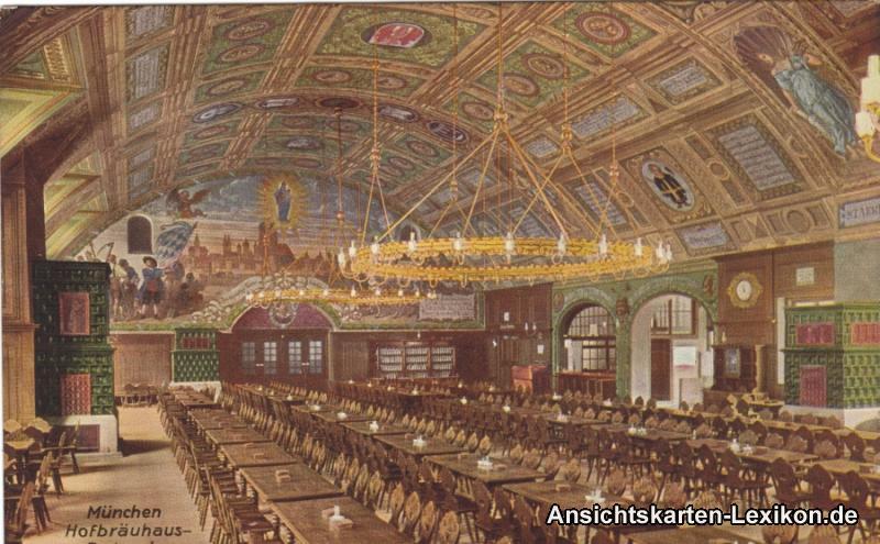 Ansichtskarte München Hofbräuhaus - Festsaal 1918