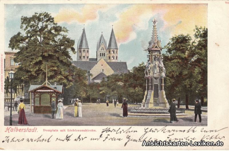 Ansichtskarte Halberstadt Partie am  Domplatz mit Liebfr 0