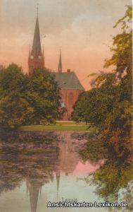 Ansichtskarte Leipzig Lutherkirche mit Johannapark color
