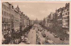 Ansichtskarte Prag Praha Wenzelplatz mit Straßenbahn 193