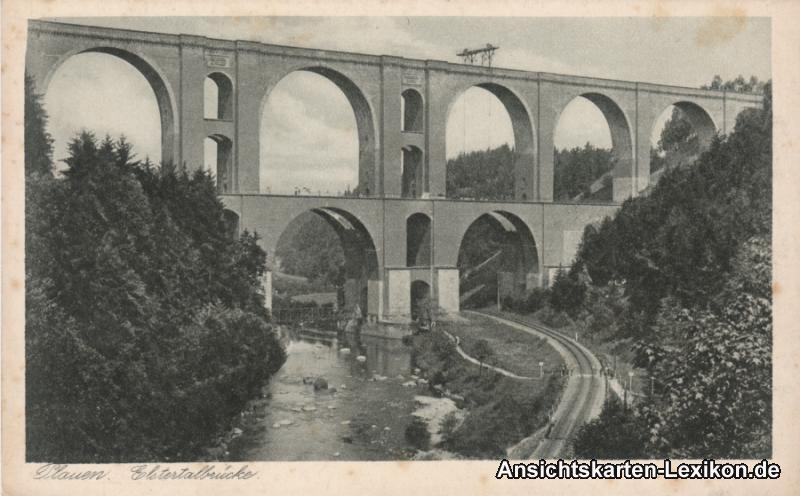 Ansichtskarte Jocketa Pöhl Elstertalbrücke Bahngleise b