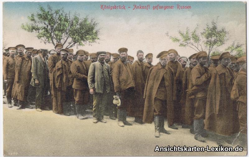 Ansichtskarte Königsbrück Kinspork Ankunft gefangener Russen 1914