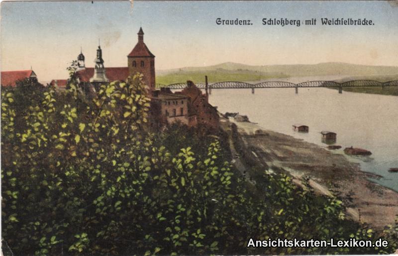 Ansichtskarte Graudenz Schloßberg mit Weichselbrücke Gru