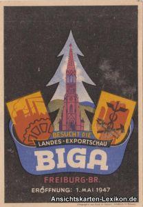 Werbe Ansichtskarte  Freiburg BIGA Landes-Exportschau 19