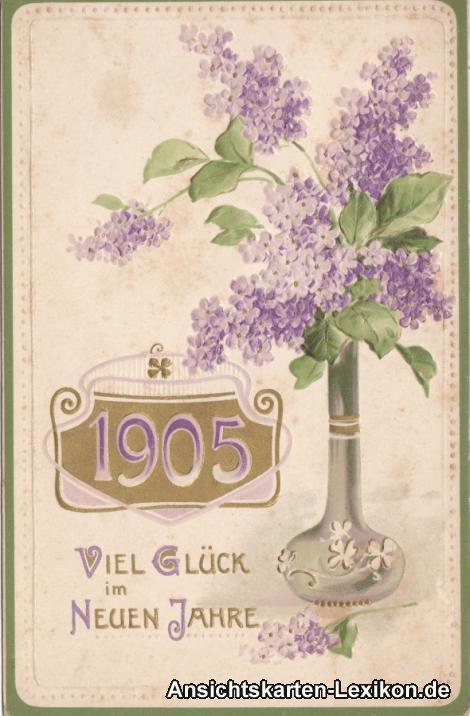 Viel Glück im Neuen Jahr - Präge Ansichtskarte 1905