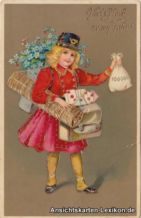 Präge-Ansichtskarte Viel Glück im Neuen Jahr - Postbotin