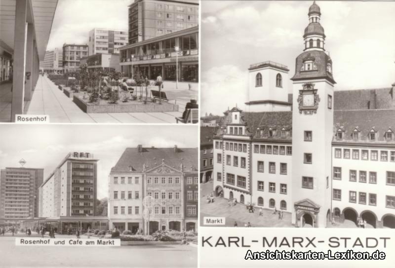 Ansichtskarte Chemnitz Rosenhof und Markt 1978
