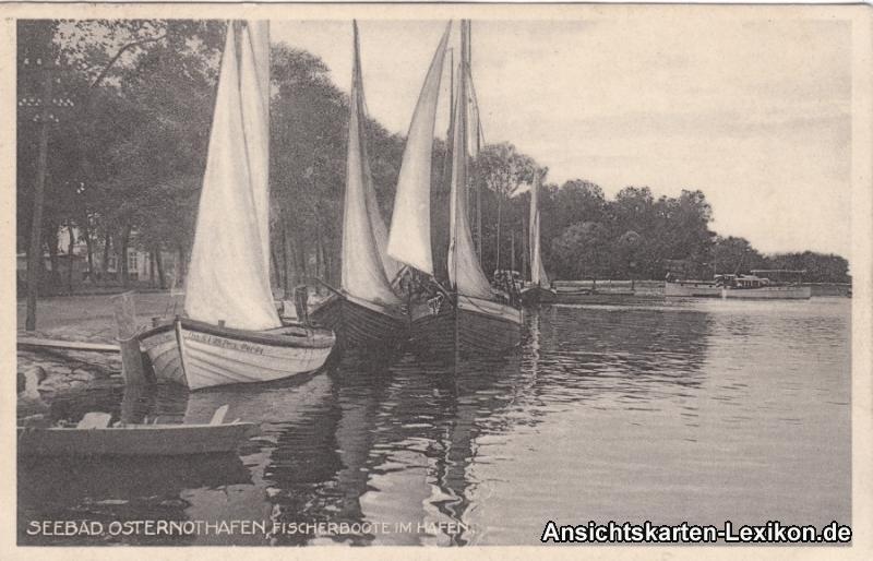 Ansichtskarte Osternothafen Swinemünde Fischerboote im H