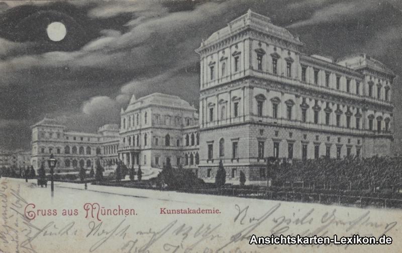 München Kunstakademie - Mondscheinlitho Ansichtskarte g1