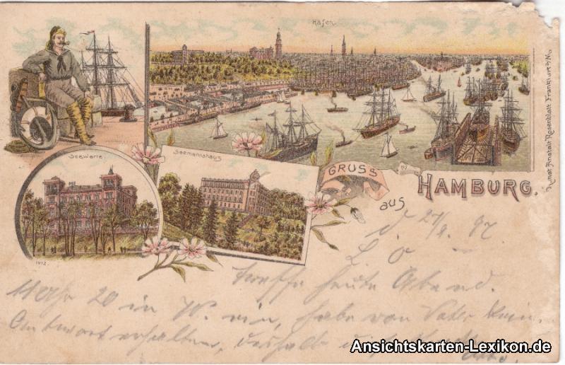 Hamburg  Mehrbildlithographie Ansichtskarte Hafen, Seewa