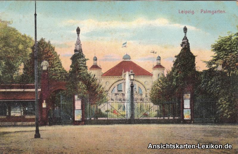 Ansichtskarte Leipzig Palmgarten - Eingang c1918