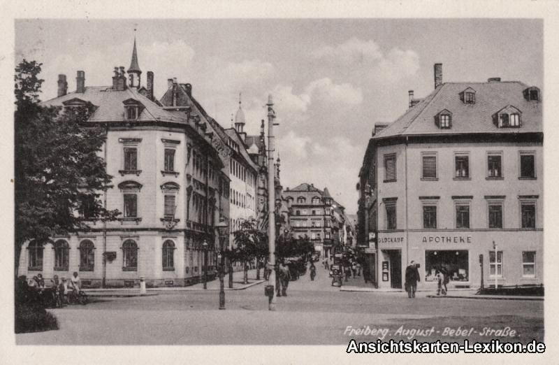 Freiberg (Sachsen) August-Bebel-Straße mit Apotheke