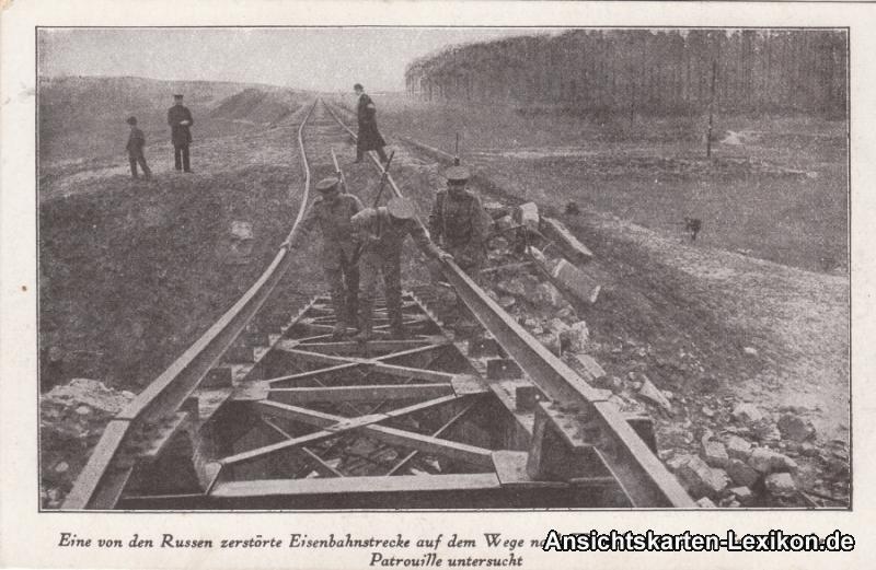 Ansichtskarte Erster Weltkrieg WK1 zerstörte Eisenbahnst