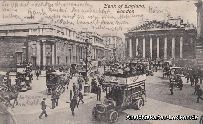 Postcard London Platz, Bus und Bank of England g1911