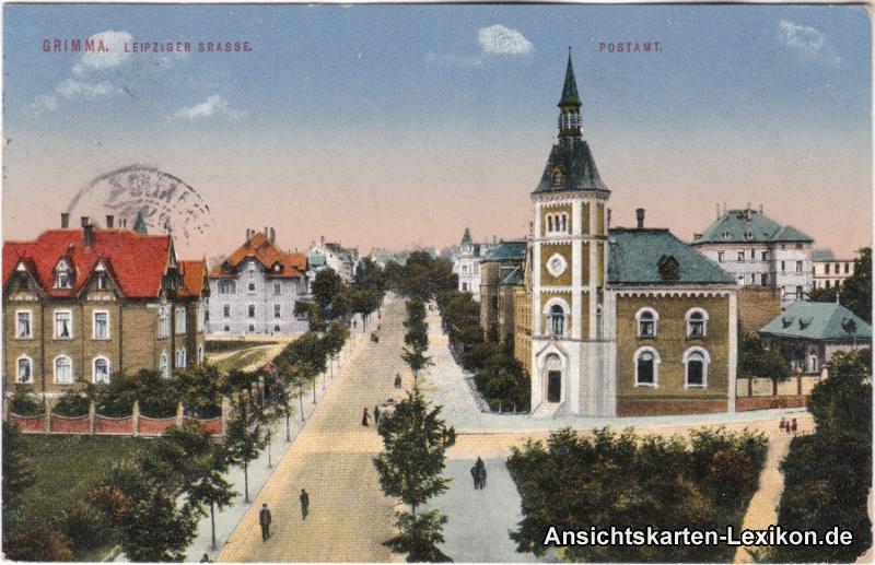 Grimma Leipziger Straße und Postamt